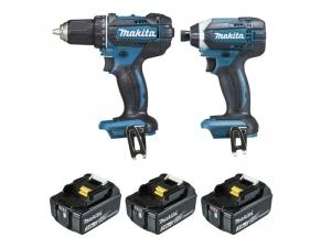 Ensemble de 2 machines 18V Li-Ion 3Ah 3 batteries DLX2127J1 Makita