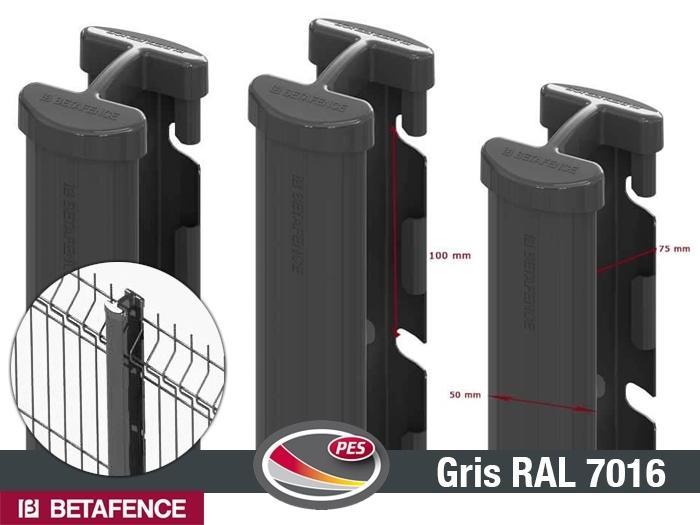Poteau quixolid plus gris encoche pour panneaux cl ture for Luminaire exterieur ral 7016